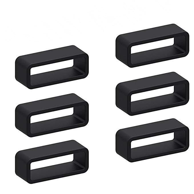 6pcs Black Silicone Watch Strap Loop Replacement Watch Band Retaining Loop Hoop Rubber Retainer Holder Keeper Waterproof 20 22mm