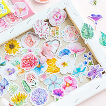 45pc/bag Beautiful flower adhesive paper sticker children diy Handmade Gift Card photo album Scrapbook diary decoration stickers(China)