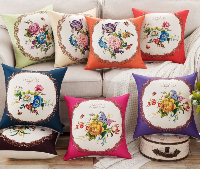 Waist Pillows Covers Flower Rose wreath frame Linen Bed Home Bed Chair Pillow Case cover Throw Cotton Linen Square 45x45cm B127