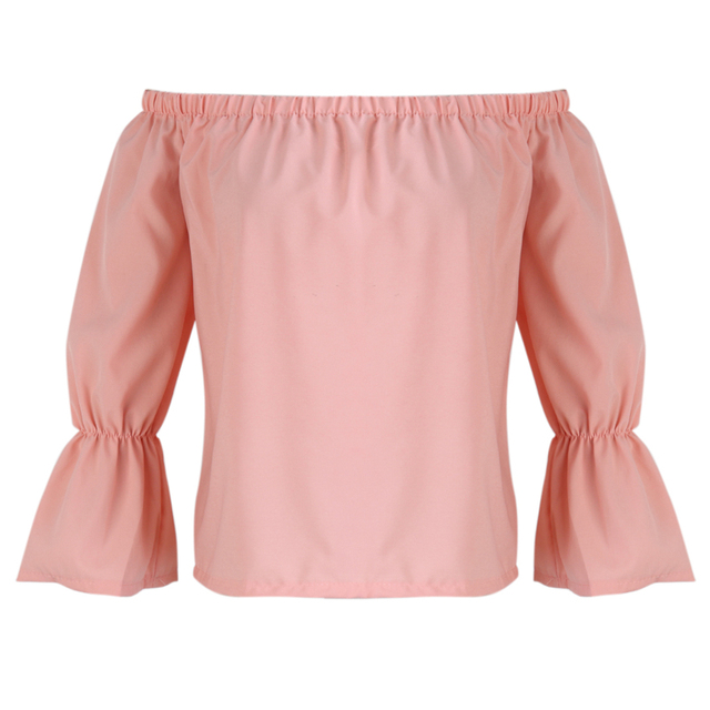 364f28ff3d0a4b Fashion Women Ladies Sexy Slim Off Shoulder Blouses Tops Casual Long Sleeve  Slash Neck Pink Tee Shirt chemise femme