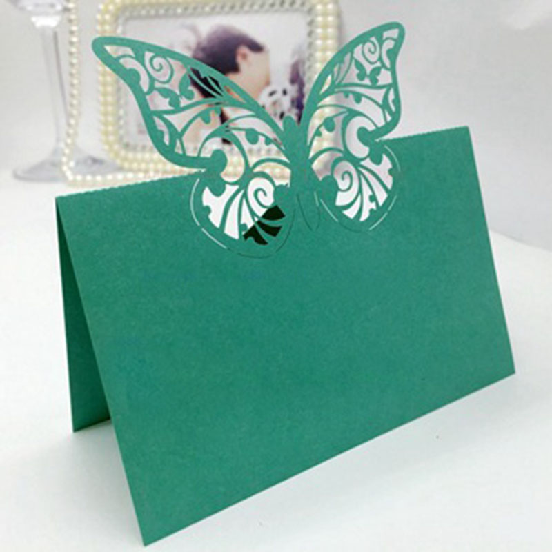 100pcs <font><b>Green</b></font> <font><b>Color</b></font> Butterfly Favors Laser Cut Wine Glass Place <font><b>Card</b></font> Paper <font><b>Cup</b></font> Escort <font><b>CardS</b></font> Wedding Birthday Party Decoration