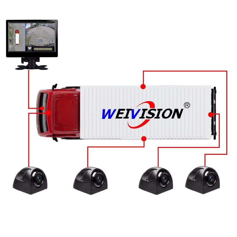 WEIVISION 360 градусова птица Изглед Панорамен изглед, 4 ч. Записващ видеорекордер за автобус Училищен автобус Автобус +7 инчов HD дисплей + 16Gb U диск