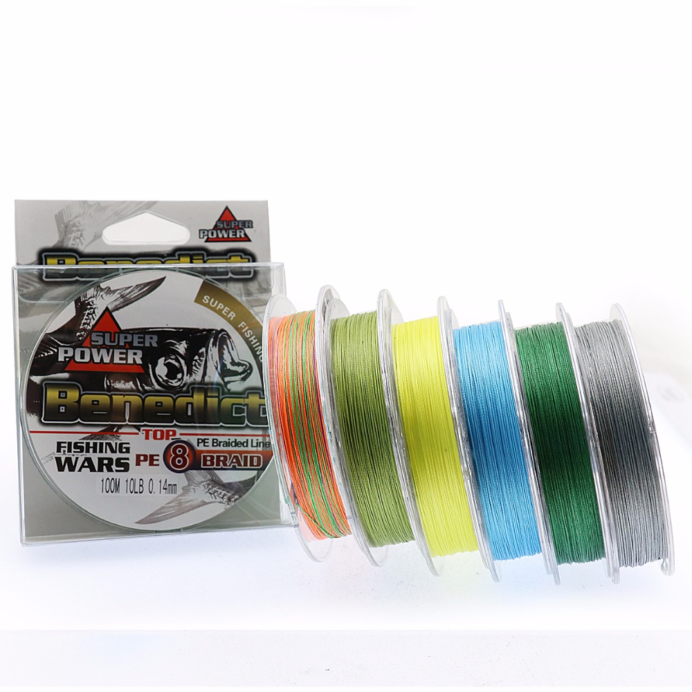 Super pe 100M multifilament fishing line braid strong 8strands braided wires 6-100LB fishing rope for sea fishing cords