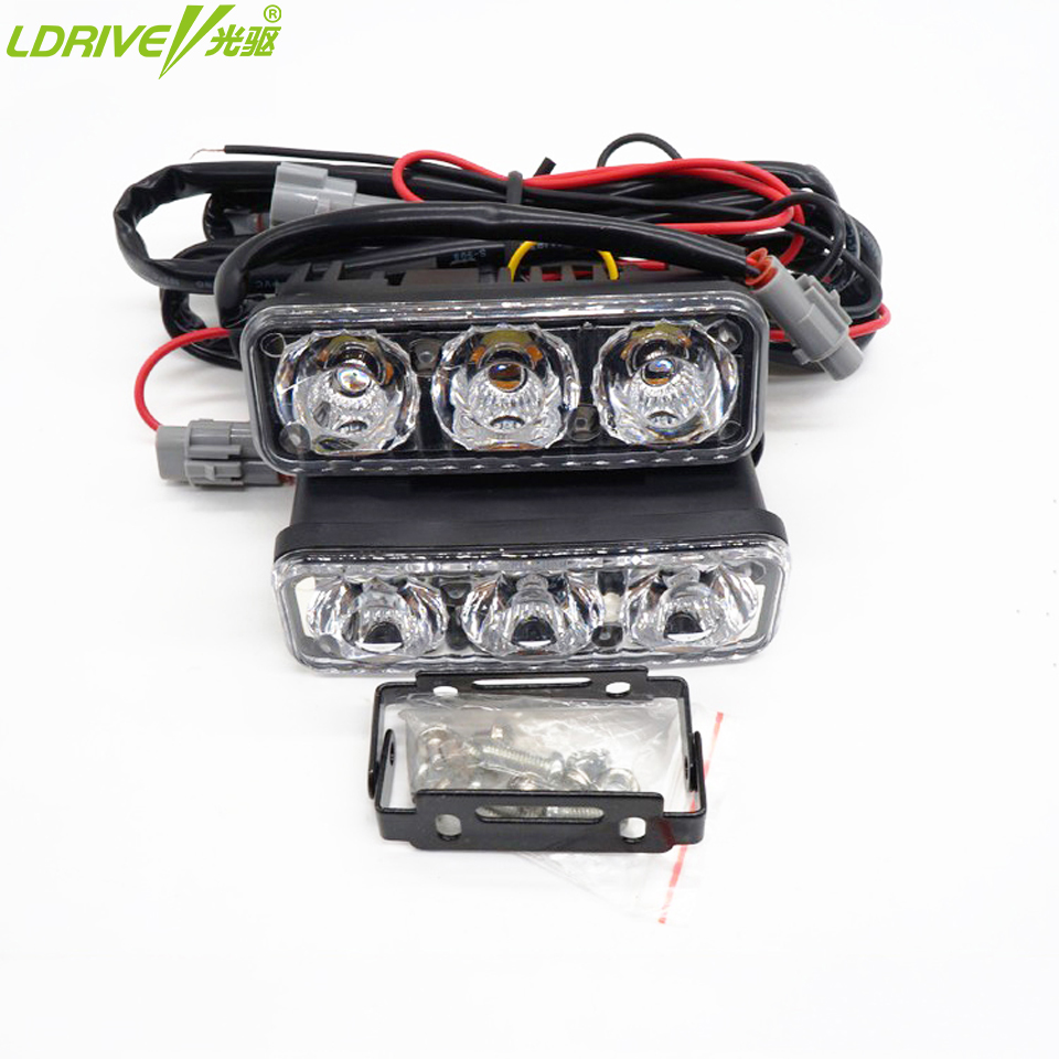 Waterproof car 3 led daytime running lights DRL with turn signal lamp auto fog light Universal for bmw toyota Dodge ford vw kia
