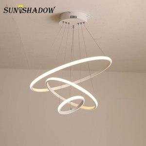 Image 5 - מנורות מודרני LED נברשת לבן & שחור & קפה מנורות Led תקרת נברשות תאורה לסלון מטבח אוכל חדר