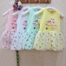 hot deal buy pleated children's dresses pure cotton fashion kid vest dress summer baby clothing 100% cotton high quality baby girl clothes