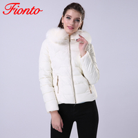 FIONTO 2017 1 PC Winter Women Jackets Coats Solid Slim Thick Large Fur Collar Hooded short Parkas Jacket Winter Women Coat A003