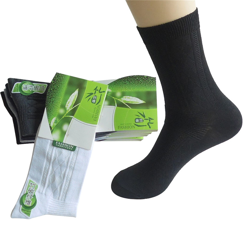 6 Pairs/lot Men's Socks Factory Price Anti-Bacteria Anti-odor Bamboo Fiber Male Short Sock Solid Color Black Cotton Sock Meias