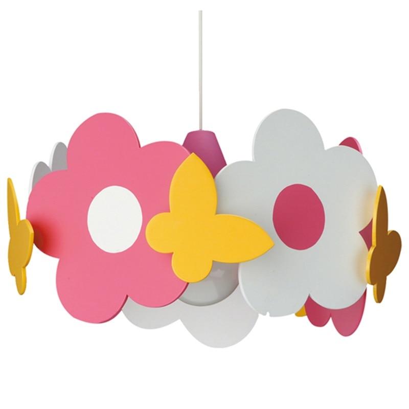 Flower Pendant Lights Lovely Girl Wood Pendant Lamp For Kids Children Living Room Bedroom Lighting Fixtures Suspension PL280
