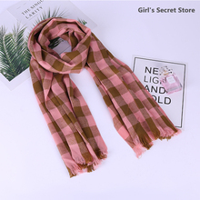 Cotton Plaid Scarf Knitted Triangle Ladies Warm Imitation Cashmere Female Soft Shawl Classic Wrap Blanket