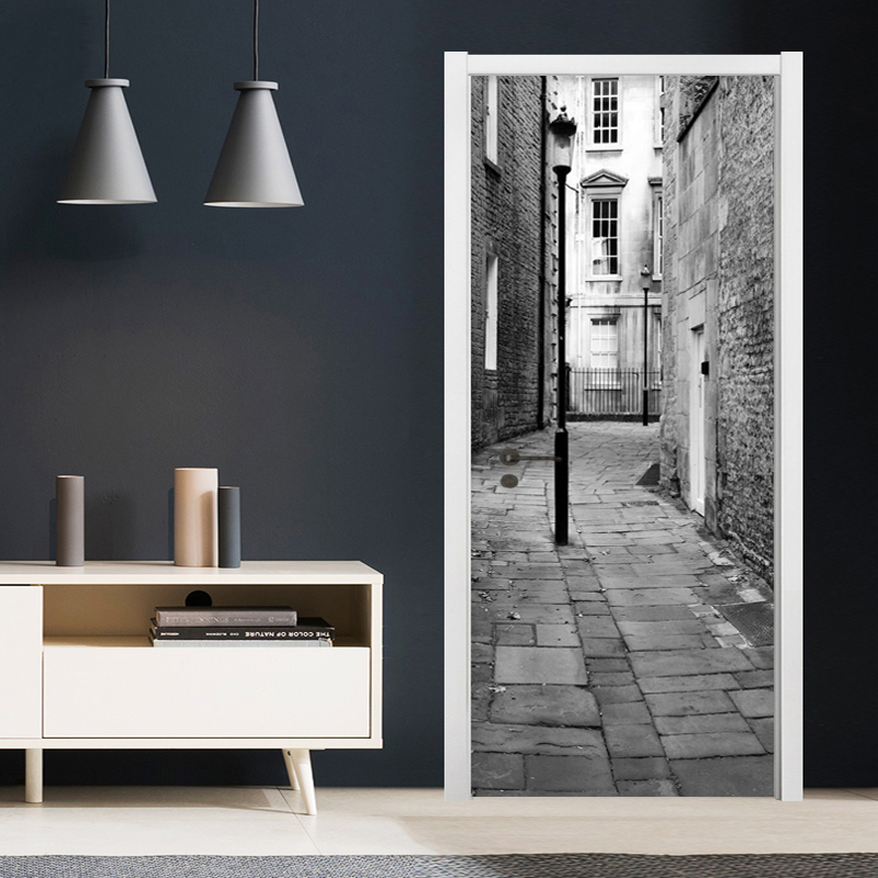 Black And White Street Retro Door Sticker 3D Creative DIY Wallpaper Living Room PVC Self-Adhesive Home Door Decals Wall Stickers