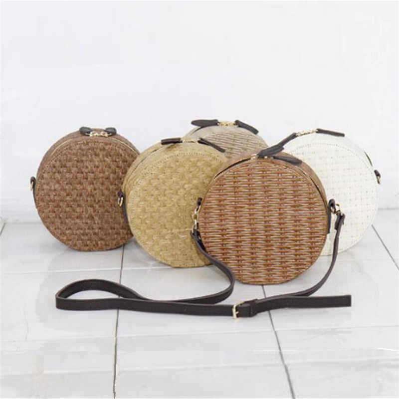 Osmond Женская круглая соломенная сумка из ротанга на плечо круговая тканая сумка-мессенджер для дам Сумка через плечо Повседневная сумка с ручкой