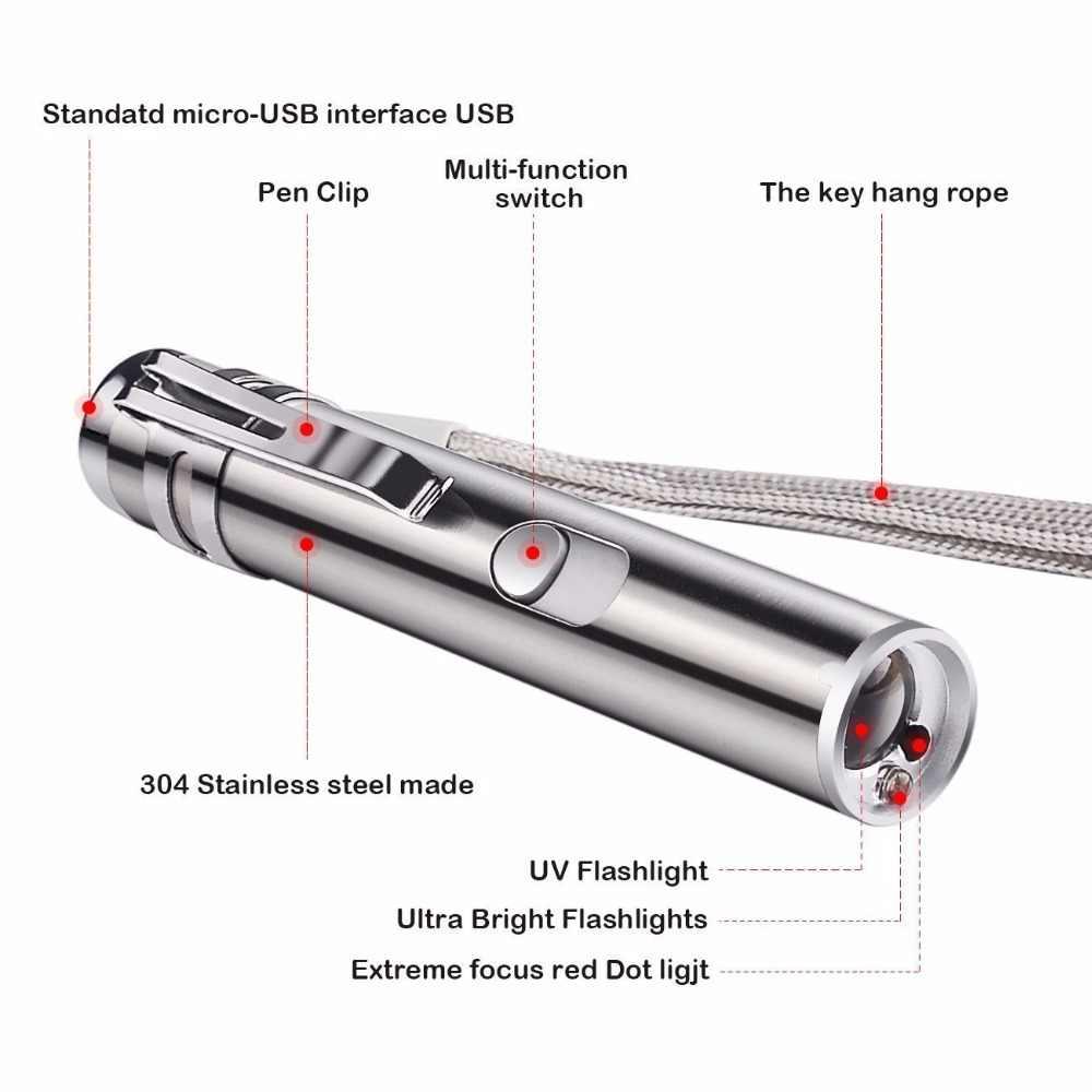 מיני אדום לייזר מצביע USB נטענת 3 ב 1 פנס נטענת UV פנס לייזר עט Powerpoint רב-פונקציה לייזרים