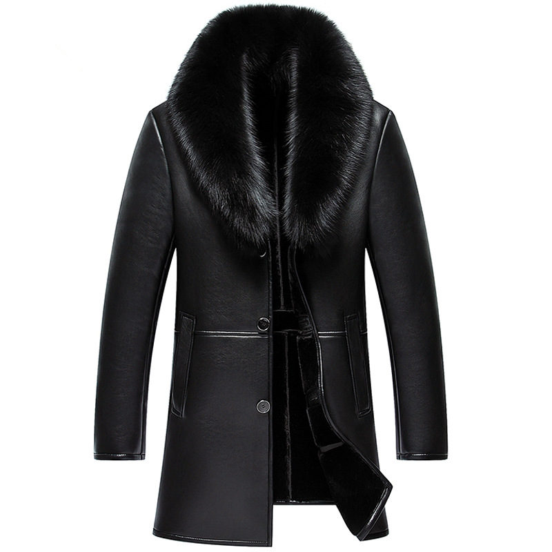 Winter Big Fox Fur Long PU Leather Plus Size Warm With Velvet Thick Solid Color Jacket Parka Men Cuir Homme MZ1957