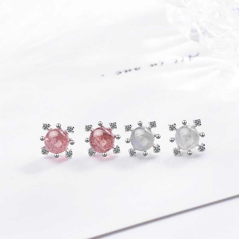 925 Sterling Silver Snowflake Zircon Pink Strawberry Crystal Stud Earring For Women Flowers Leaves Ear Jewelry brincos oorbellen