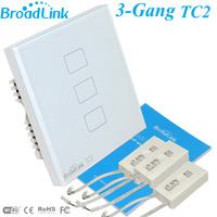New EU UK Broadlink TC2 3 Gang Wireless Remote Control WiFi Wall Touch Switch Receptacle 433MHZ
