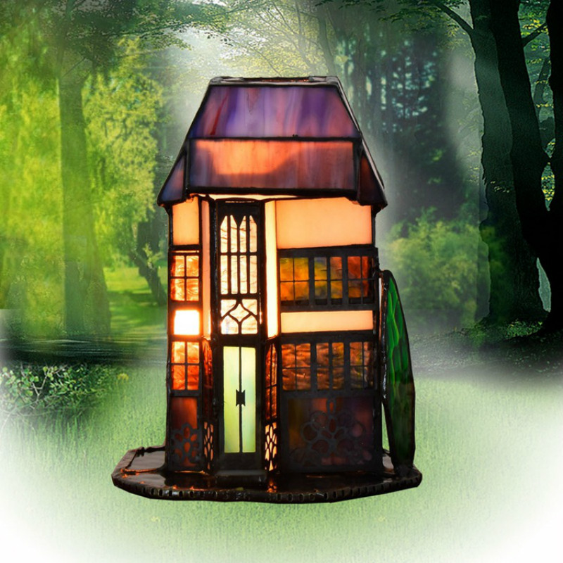 Creative Small House Tiffany Art Glass Led E14 Table Lamp
