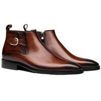 Модные черные/коричневые ботинки челси, мужские Ботильоны из натуральной кожи, мужские деловые ботинки