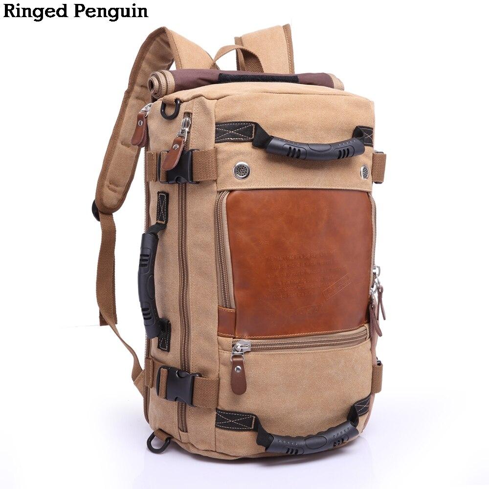 Ringed Penguin Travel Bagpak Große Kapazität Multifunktionsreiserucksack Männlichen Gepäck Canva Umhängetasche Reisetasche Trekking