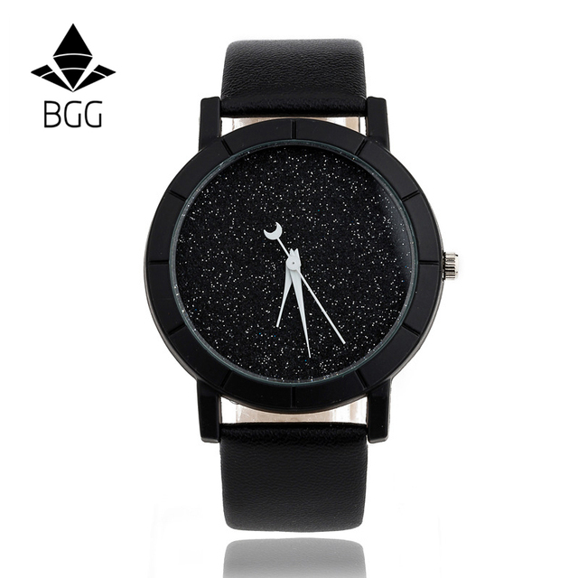 Cute Moon Stars Design Analog Wrist Watch Women Unique Romantic Starry Sky dial Casual Fashion quartz watches Woman Girl Gift 1
