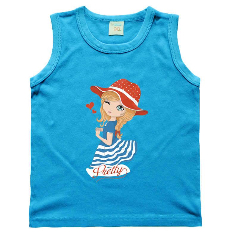 Tammy Ada Summer Children 2018 New 10 Color Beauty Baby Girls Sleeveless Kid Top Tees Vest Girls Cartoon Cotton Princess T-shirt