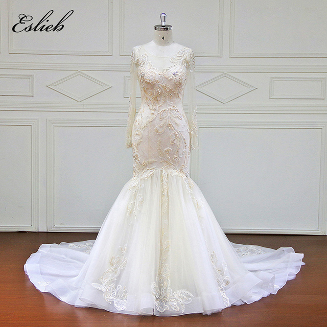 Stunning Beaded Appliques Lace Mermaid Wedding Dress Illusion Button ...