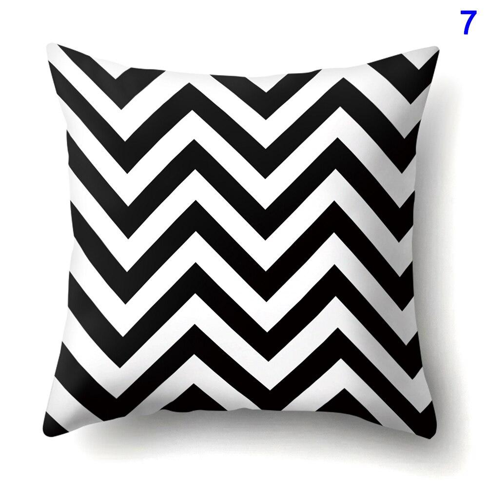 Creatief Creatieve Zwart Wit Geometrische Patroon Gedrukt Decor Kussenhoes Voor Sofa Stoel Fp8 Fe14