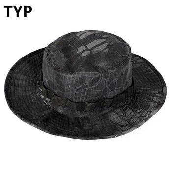 Sombrero de camuflaje biónico para exteriores, para pesca, caza, escalada, borde redondo, parasol, gorras para hombre, protector solar táctico, Anti UV, sombrero Bonnie