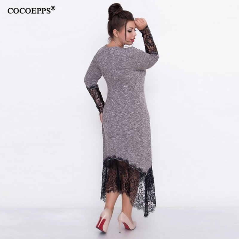 COCOEPPS 5XL 6XL Große Größe Spitze Patchwork Frauen Kleid Casual Arbeit bodycon Kleider Plus Große Größe Elegante Weibliche Kleidung Vestidos