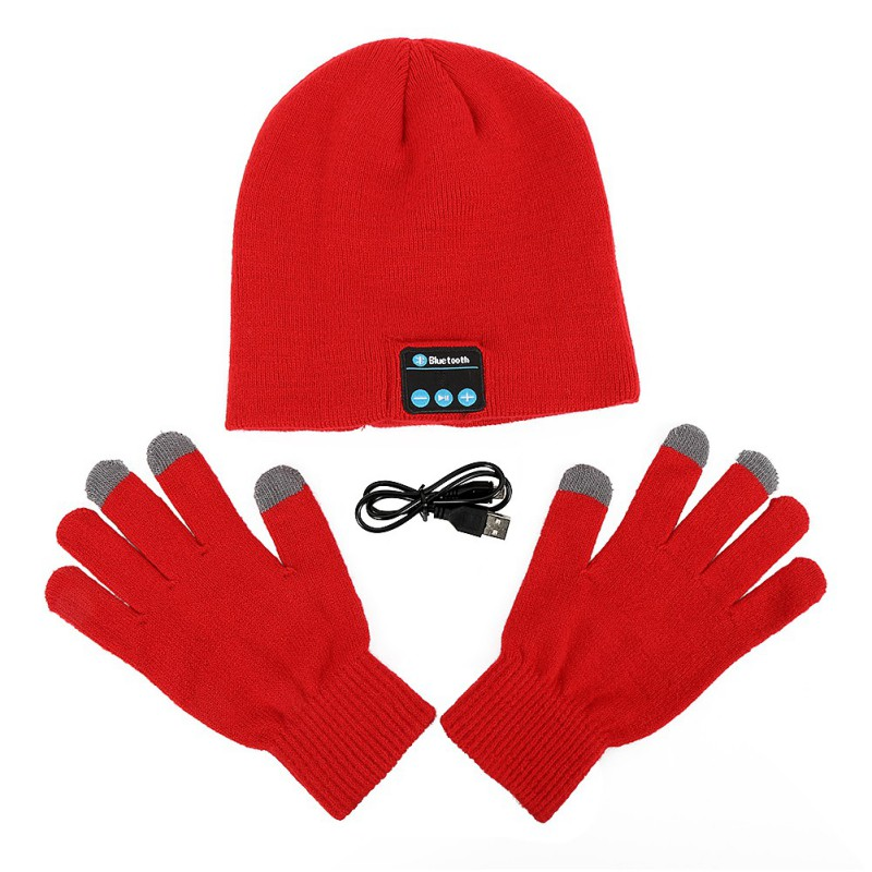 2 Pcs Sets Unisex Winter Wireless Smart Screen Beanie Cap Hat Built in Headphones screen Gloves
