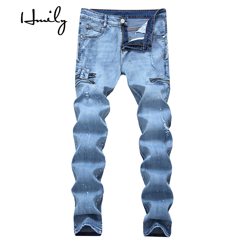HMILY Jeans Mens Clothing Casual Stretch Slim Broken Pockets Ripped Biker Pants Male Trousers Homme Plus size youth pants