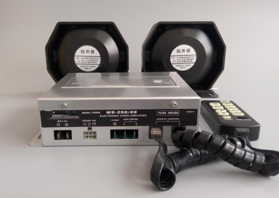 WS-298/8S Higher star 300W Dual tone police siren car alarm electronic siren with remote + 2units 150W slim speaker