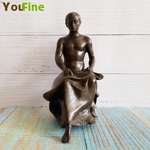 Hot bronze nude male sculpture Famous sculptor production Traditional craft miniature home interior decoration ornament