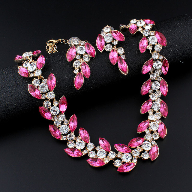 jiayijiaduo Bridal jewelry sets for women banquet dress accessories pink necklace earrings gold color gift dropshipping
