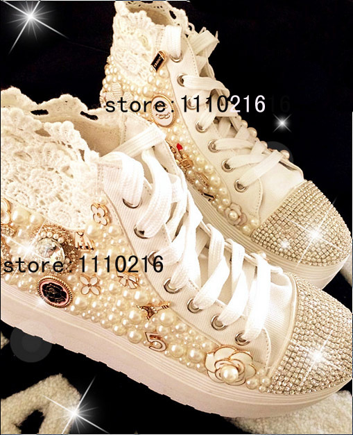 2017 women thick flats platform lace up canvas high top brand design fashion handmade pearl rhinestone Lace casual shoe boots
