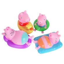 4pcs/Set Peppa Pig Bathing Rubber toy  Extrusion Makes a Sound George Action Figures Anime Toys for Children Gift
