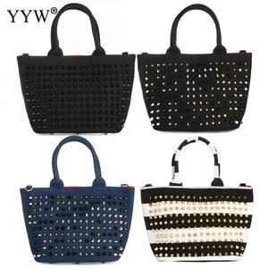 Холщовая Сумка в полоску с заклепками в стиле панк, модные женские сумки большой вместимости, сумки разных цветов с шипами, женские сумки че...