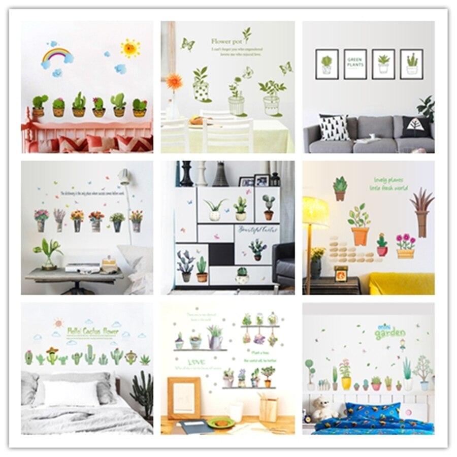 US $3.06 41% OFF|% Vinyl potted flower pot butterfly kitchen window glass  bathroom wall stickers home decor kids room bedroom decals waterproof-in ...