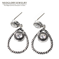 Neoglory Antique Silver Color Plated Teardrop Earrings For Women Cubic Zirconia Allergy Free Titanium Post Gift