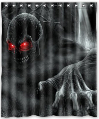 Dominator Of Darkness Black Cruel Scary Skull Shower Curtain 60\