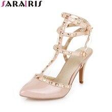 ФОТО sarairis 2018 brand shoes  ankle strap women sandals sexy high heels party wedding rivets women shoes sandal