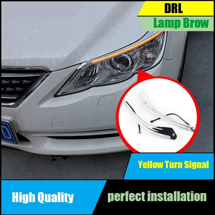 For Toyota Reiz Mark X 2011 2012 2013 Headlight LED Eyebrow Daytime Running Light DRL With Yellow Turn Signal Light Auto Parts