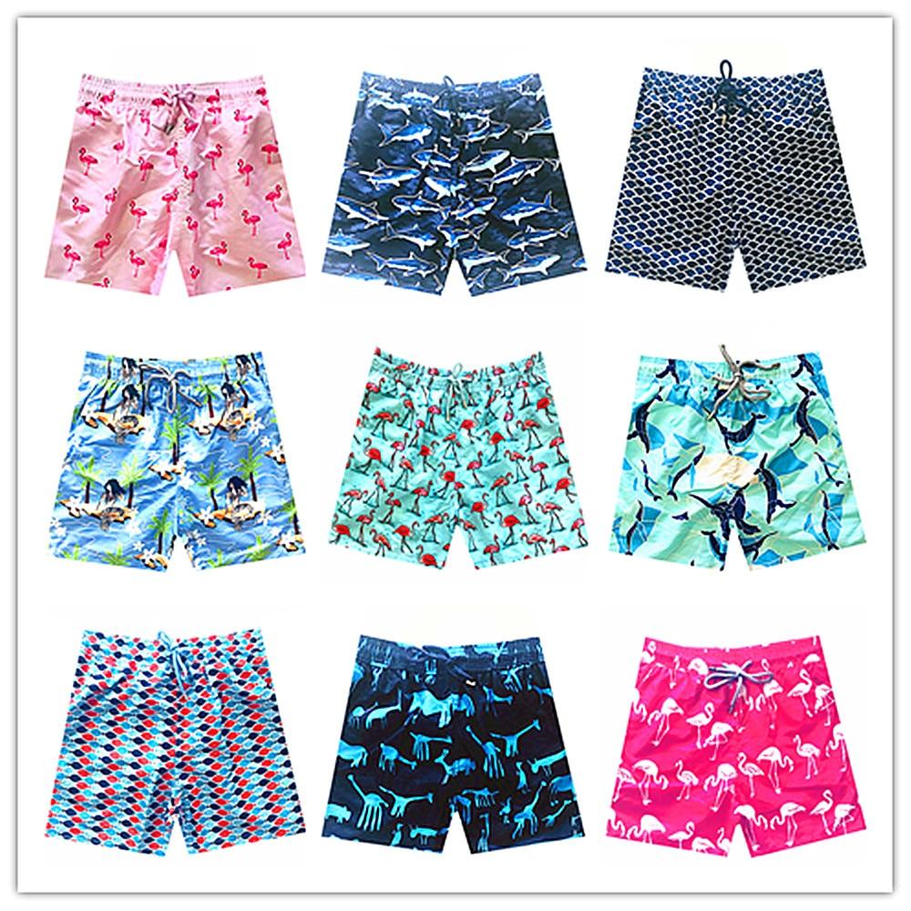 2018 Brand Vile Men Beach   Board     Shorts   Swimwear Men Quick Dry Turtles Flamingo Dolphin Mermaid Shark Sexy Man Boardshorts M-XXXL