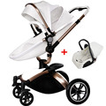 Highview PU Leather Baby Stroller 3 in1, Pushchair + Sleeping Basket + Car Seat, 4 Wheels Suspension, Bidirectional, Folding
