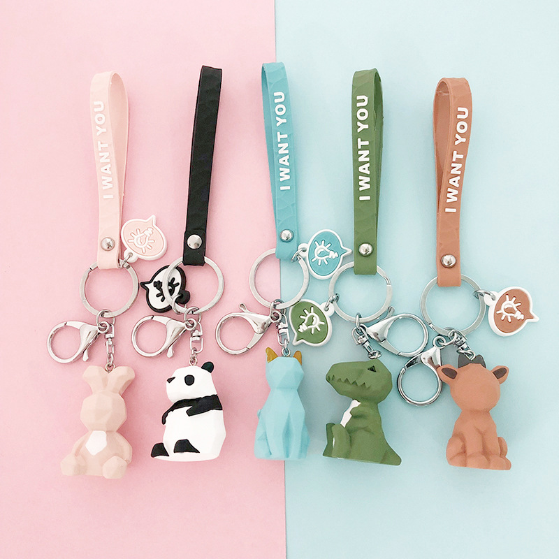 Cute Cartoon Panda Geometric Key Chain Small Dinosaur Keychains Animal Key Ring Women  Bag Charm Pendant Gift Highquality