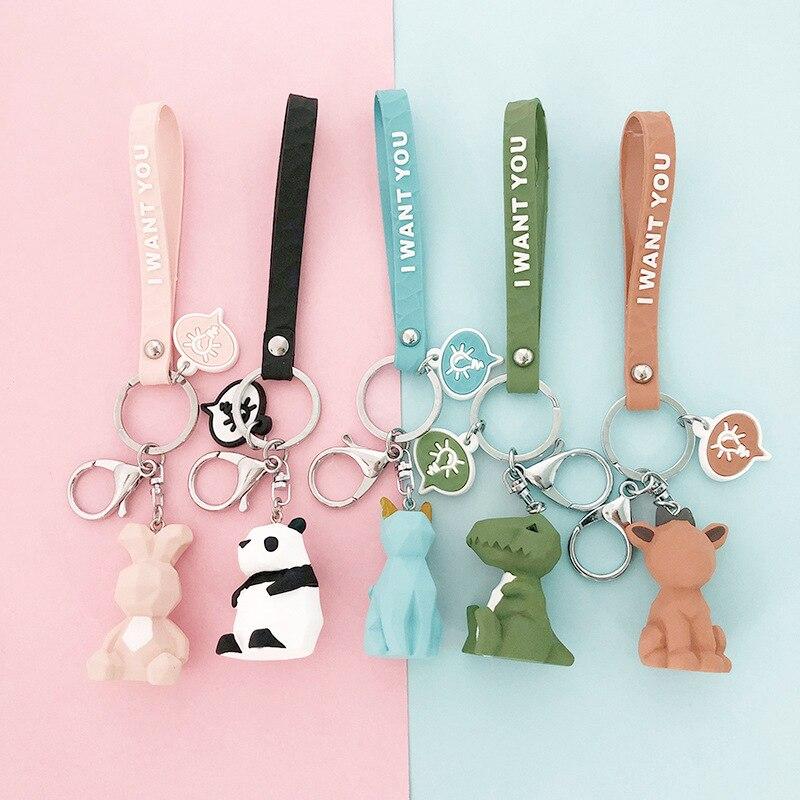 Cute Cartoon Panda Geometric Key Chain Small Dinosaur Keychains Animal Key Ring Women  Bag Charm Pendant Gift Highquality