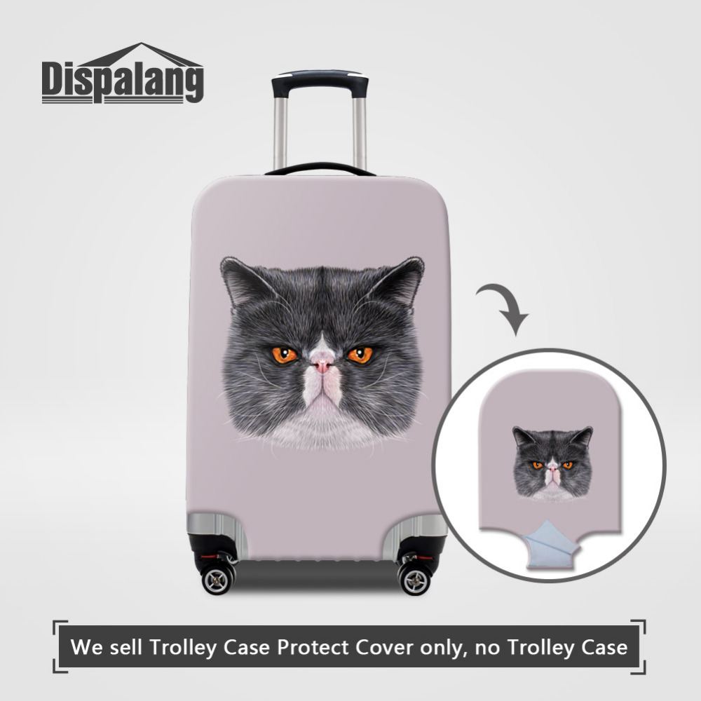 Dispalang Thick Elastic Travel Luggage Protective Covers For 18-30 Inch Trunk Case Cat Animal Print Suitcase Dust-proof Cover