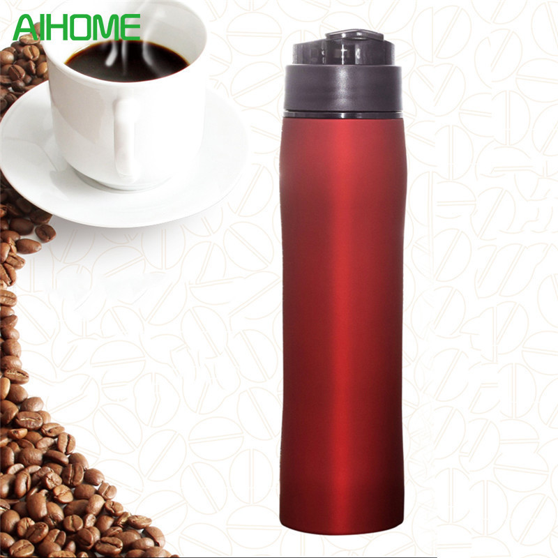 370ML Manual Coffee Maker Hand <font><b>Espresso</b></font> Maker Mini Coffee Machine Coffee Pot Portable For Outdoor Travel Design Stainless Steel