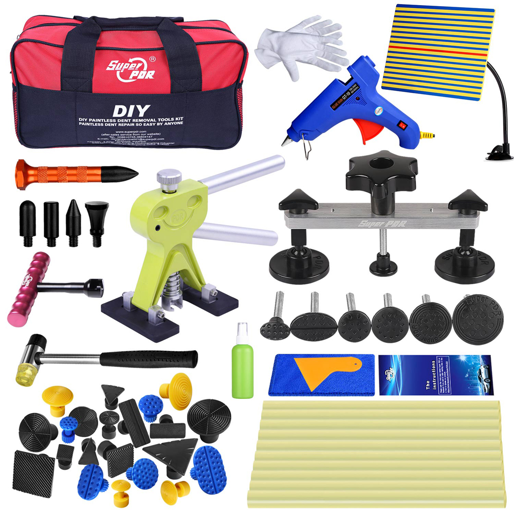 PDR Tools set Paintless Dent Repair Tools kit Car Dent Removal dent Reflector Pulling Bridge Dent Lifter Glue Tabs Hand Tools pdr tools for car kit dent lifter glue tabs suction cup hot melt glue sticks paintless dent repair tools hand tools set