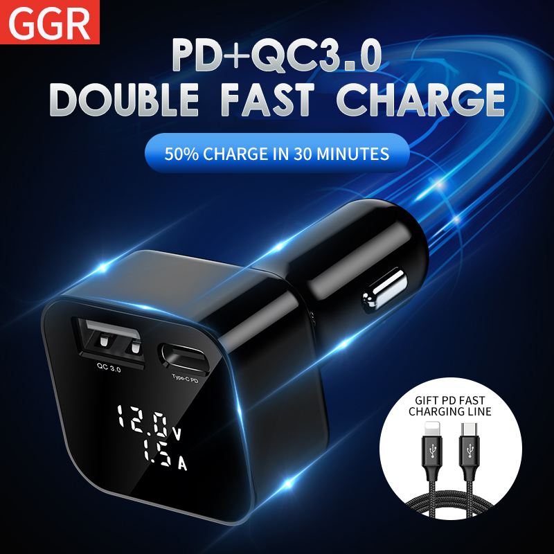 GGR 36w USB Car Charger Quick Charge QC 3.0 Type C PD Fast Mobile Phone Charger For iPhone X 8 Samsung Xiaomi mi Car Charging